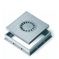 Крышка с сифоном для водоприемника серая  + рамка 300*300