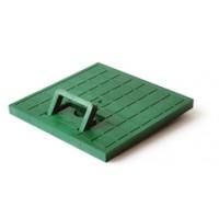 Крышка с ручкой пластиковая к водоприемнику зеленая 550*550 артикул 6169