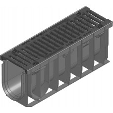 RECYFIX®NC100,классD400,тип01005с чугунной решеткой,черной, SW10мм,4 болтовое крепление