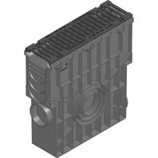 SPORTFIX®BASEL Пескоуловитель NW 100 с корзиной для мусора, решеткой чугунной , SW 10, черн., кл. Е 600, фиксация 4-я болтами