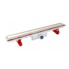 Дренажный канал для душа FLOORLINE: лоток и решетка из нерж.стали, Комплектуется сифоном TURBO (скорость слива воды 0,66 л/сек) артикул C80R
